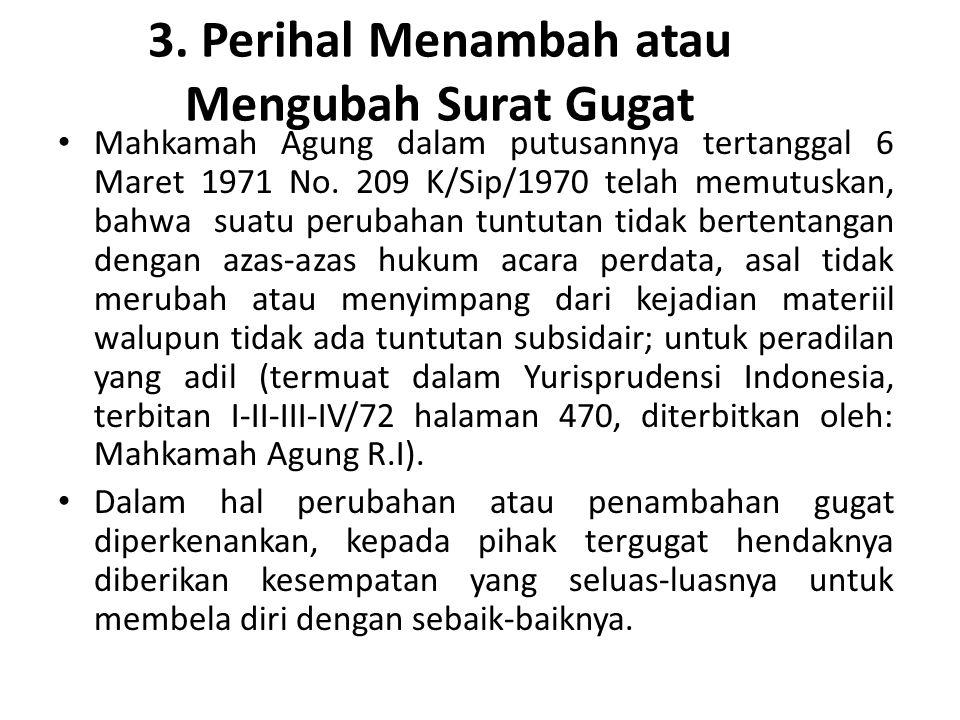 3. Perihal Menambah atau Mengubah Surat Gugat