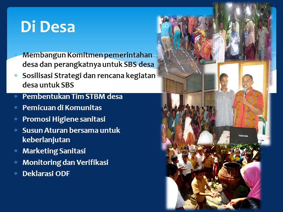 Di Desa Membangun Komitmen pemerintahan desa dan perangkatnya untuk SBS desa. Sosilisasi Strategi dan rencana kegiatan desa untuk SBS.