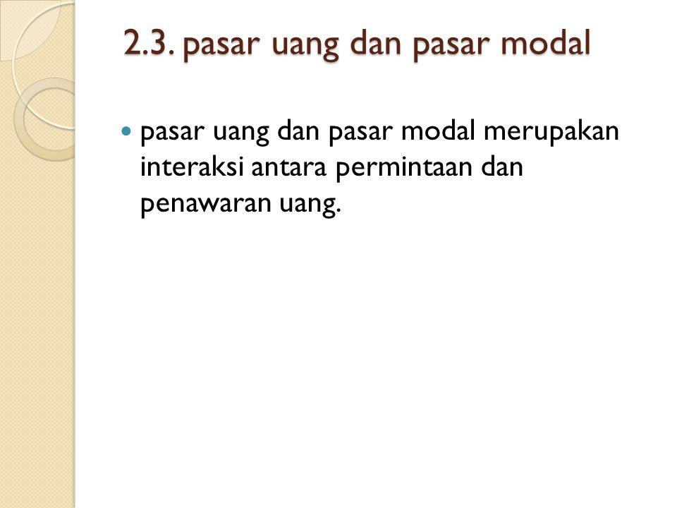 2.3. pasar uang dan pasar modal