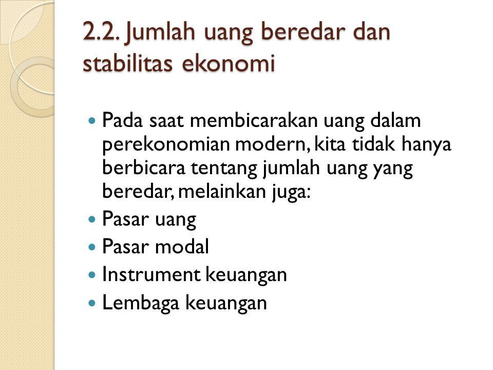 2.2. Jumlah uang beredar dan stabilitas ekonomi