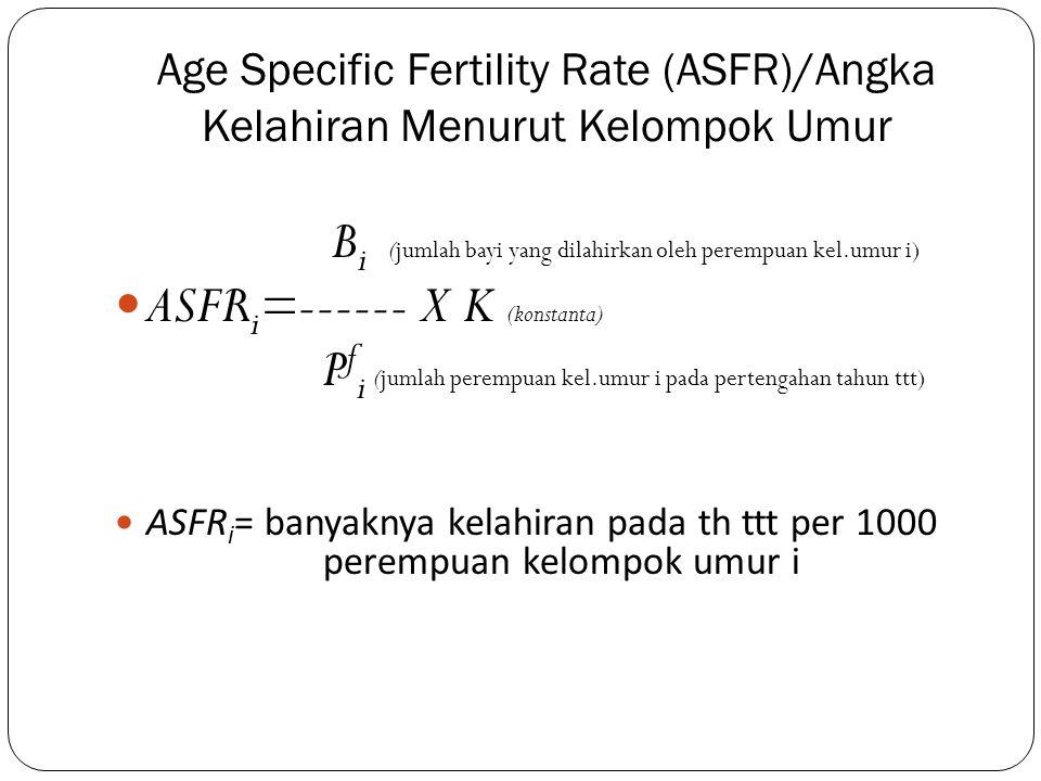 ASFRi=------ X K (konstanta)