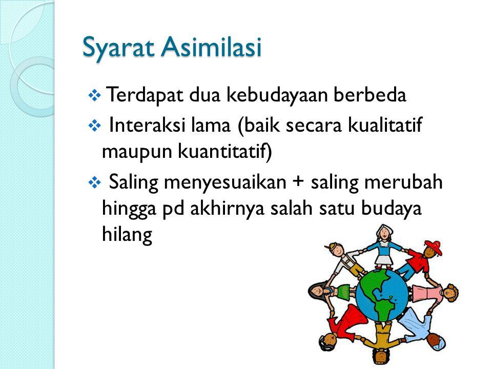 Syarat Asimilasi Terdapat dua kebudayaan berbeda