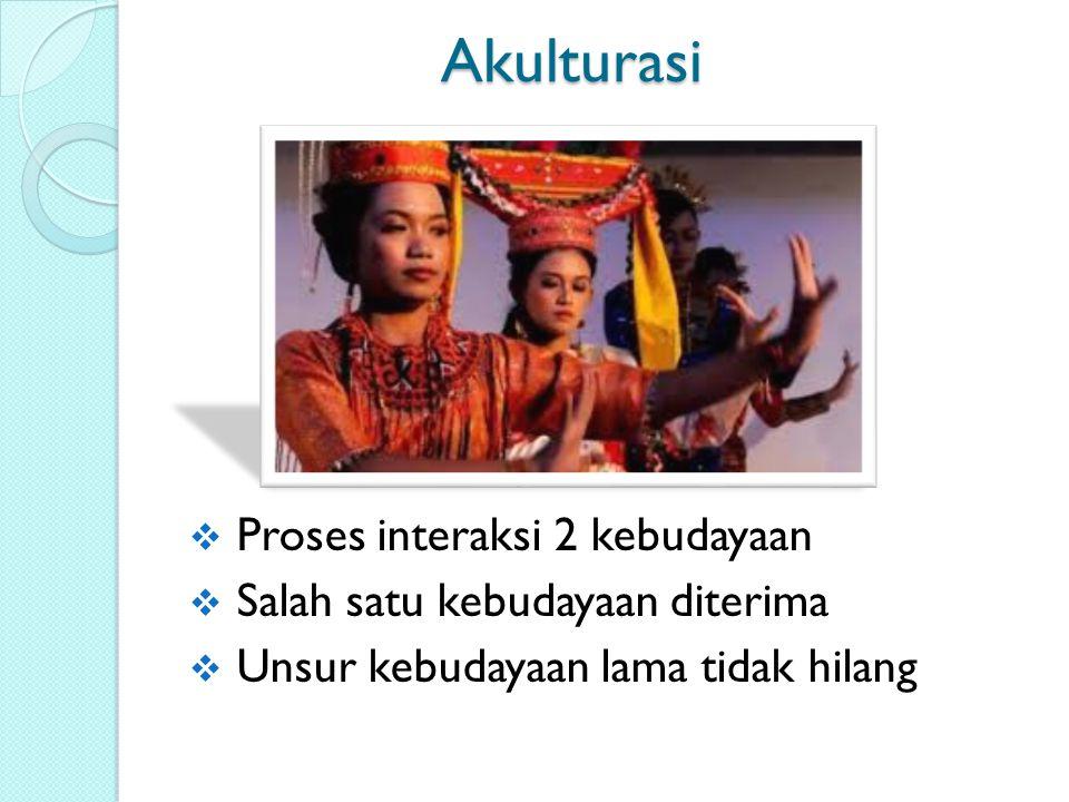 Akulturasi Proses interaksi 2 kebudayaan