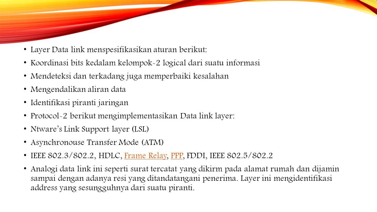 Layer Data link menspesifikasikan aturan berikut: