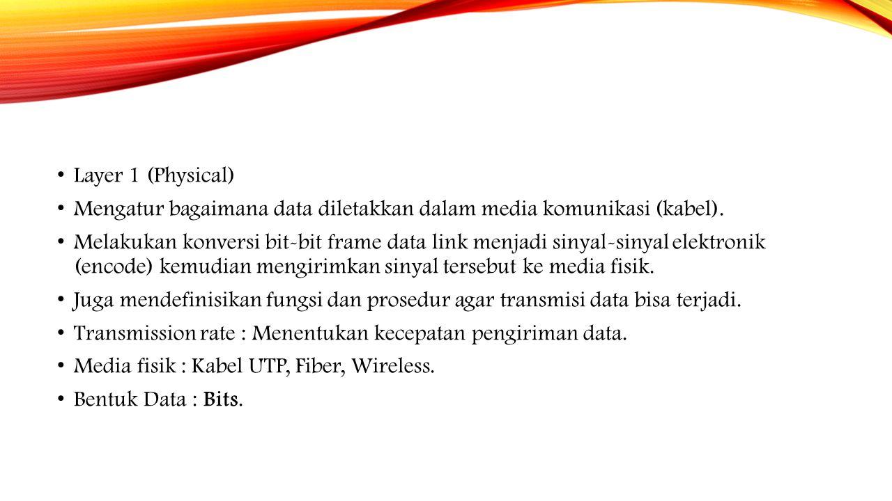 Layer 1 (Physical) Mengatur bagaimana data diletakkan dalam media komunikasi (kabel).