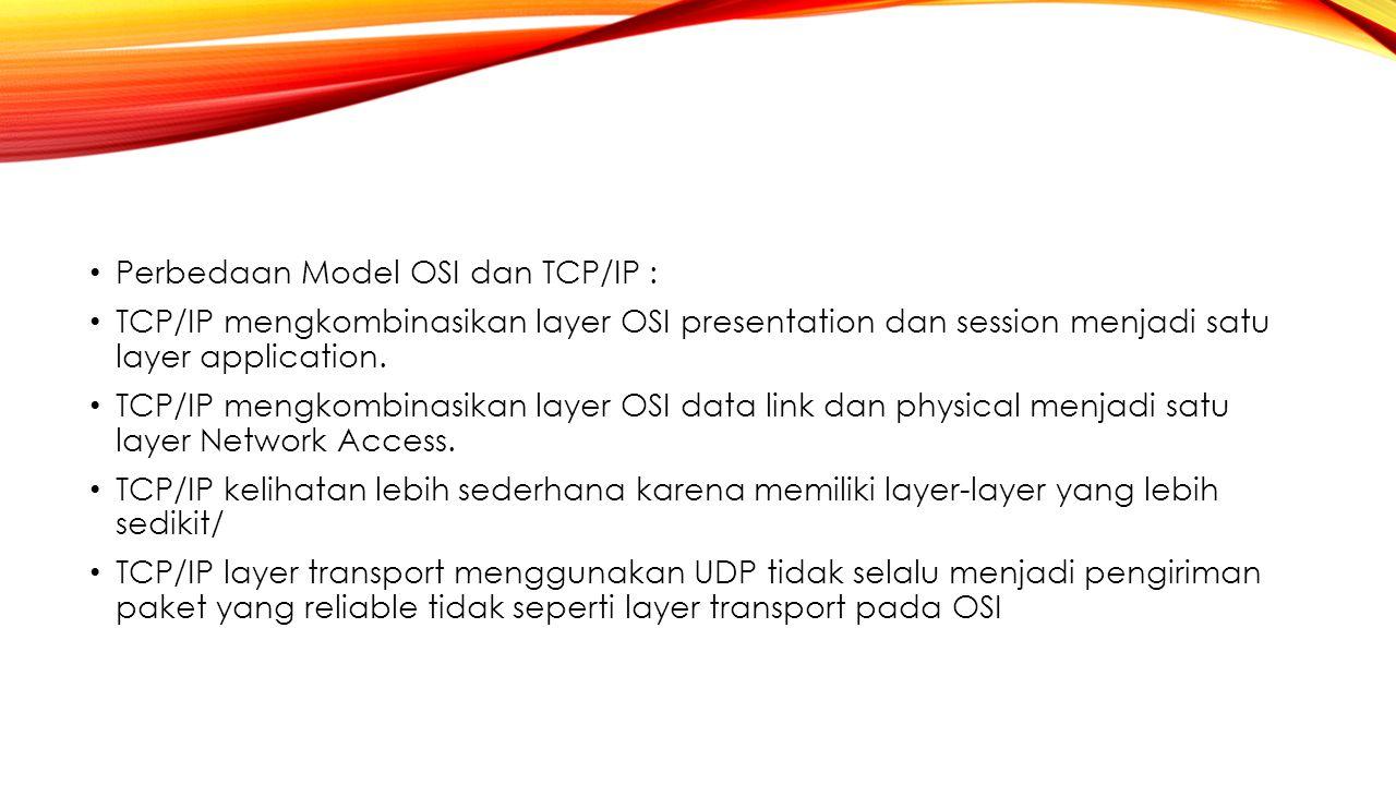 Perbedaan Model OSI dan TCP/IP :