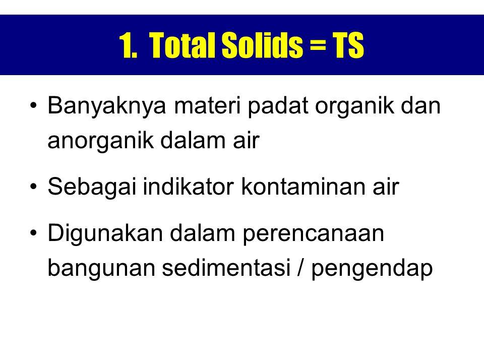 1. Total Solids = TS Banyaknya materi padat organik dan anorganik dalam air. Sebagai indikator kontaminan air.