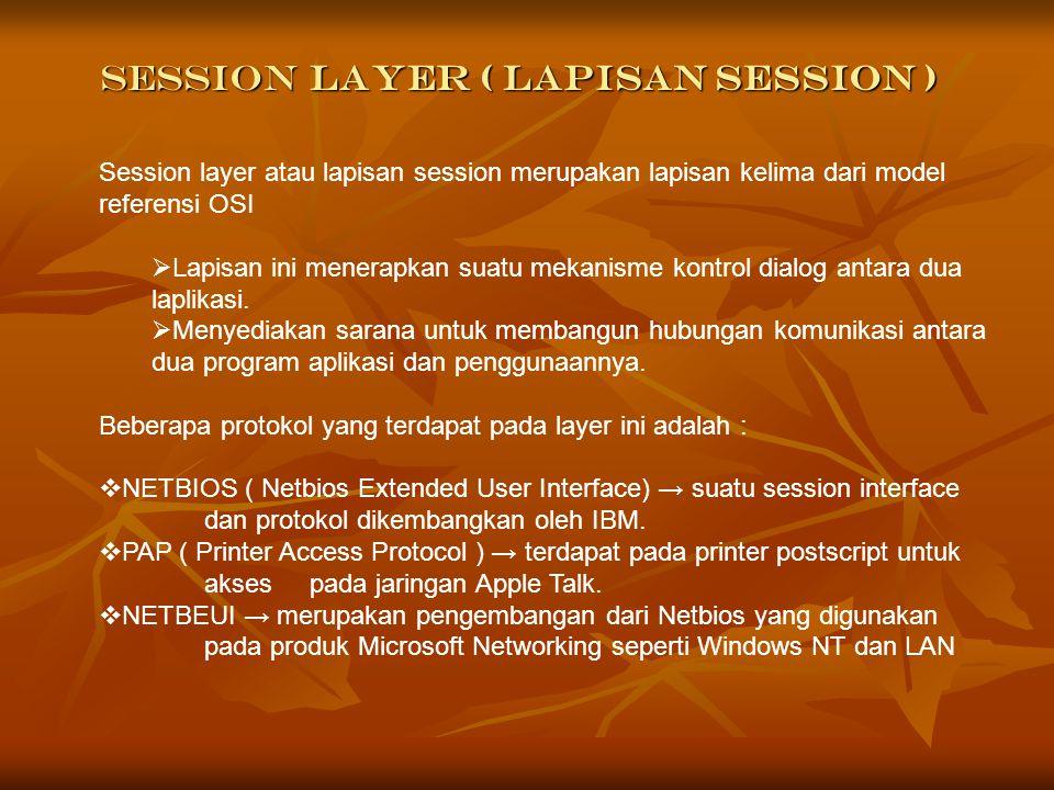 Session Layer ( Lapisan Session )