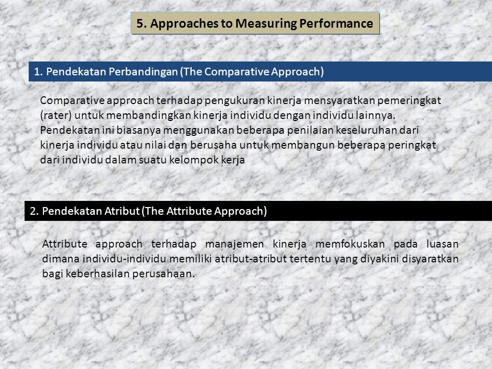 5. Approaches to Measuring Performance