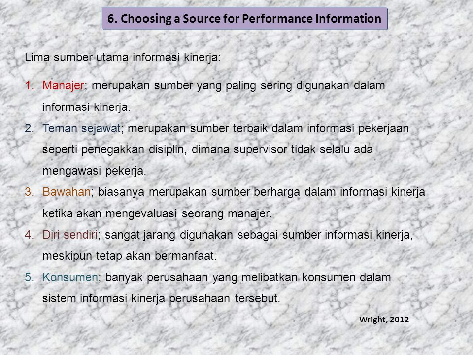 6. Choosing a Source for Performance Information