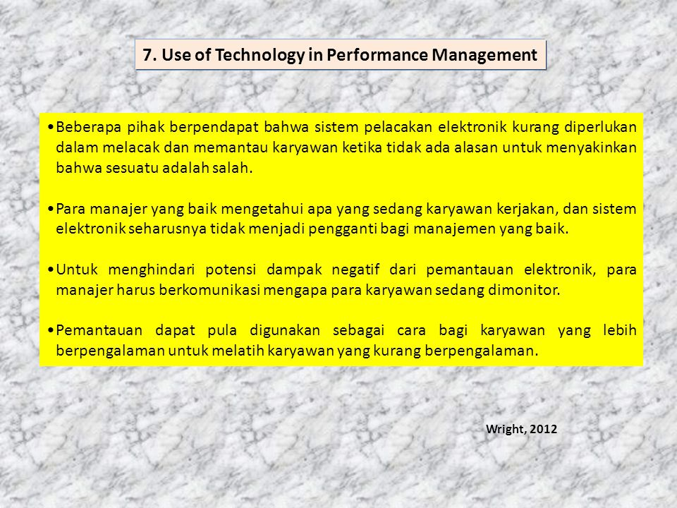 7. Use of Technology in Performance Management