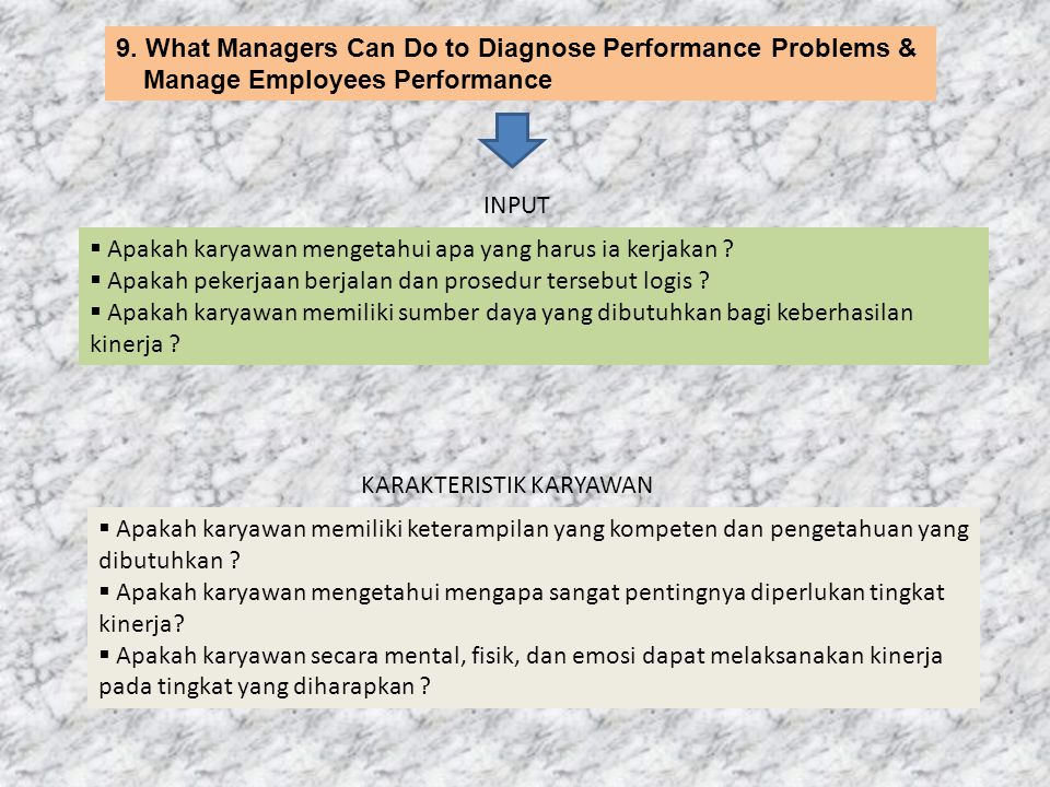 9. What Managers Can Do to Diagnose Performance Problems & Manage Employees Performance