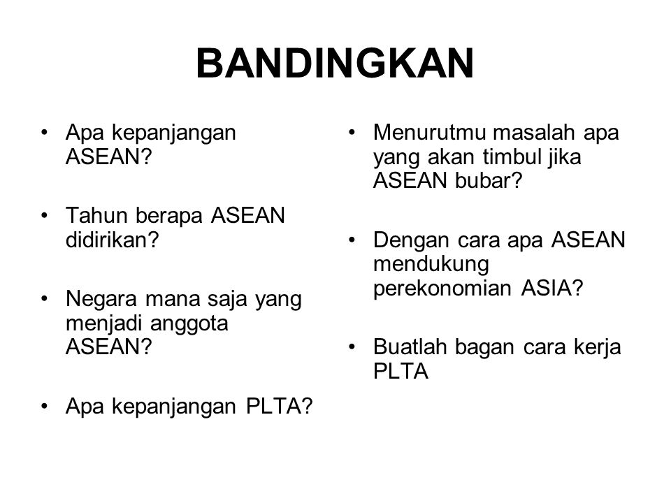 BANDINGKAN Apa kepanjangan ASEAN Tahun berapa ASEAN didirikan