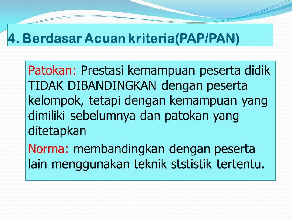 4. Berdasar Acuan kriteria(PAP/PAN)