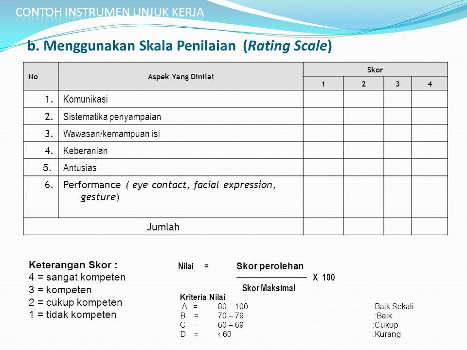 b. Menggunakan Skala Penilaian (Rating Scale)