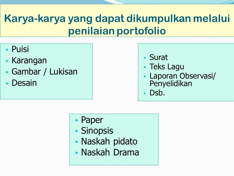 Karya-karya yang dapat dikumpulkan melalui penilaian portofolio