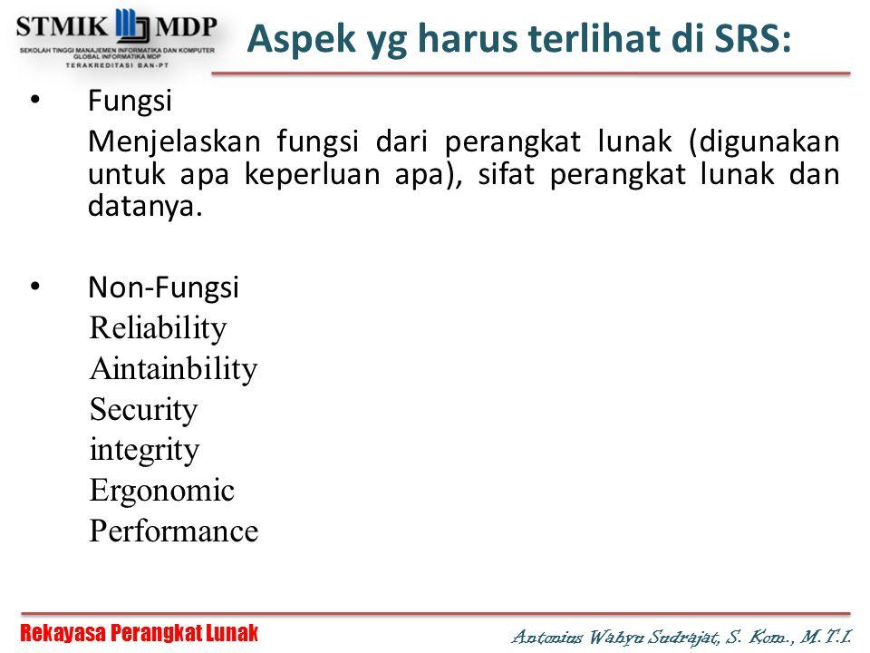Aspek yg harus terlihat di SRS: