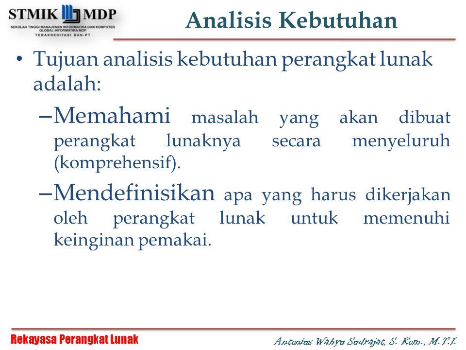 Analisis Kebutuhan Tujuan analisis kebutuhan perangkat lunak adalah: