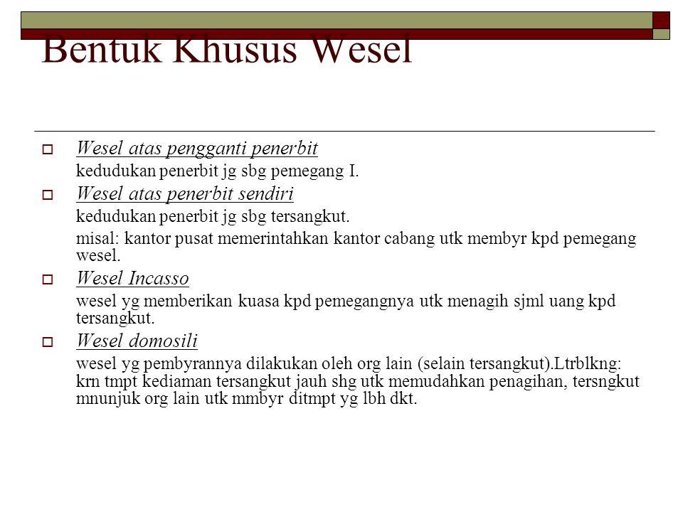 Bentuk Khusus Wesel Wesel atas pengganti penerbit