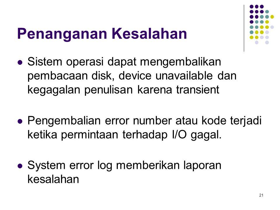 Penanganan Kesalahan Sistem operasi dapat mengembalikan pembacaan disk, device unavailable dan kegagalan penulisan karena transient.
