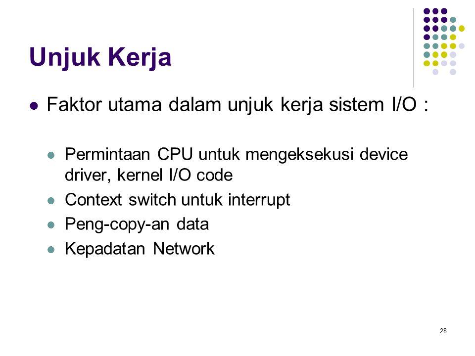 Unjuk Kerja Faktor utama dalam unjuk kerja sistem I/O :