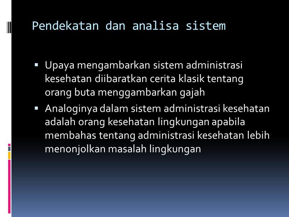 Pendekatan dan analisa sistem