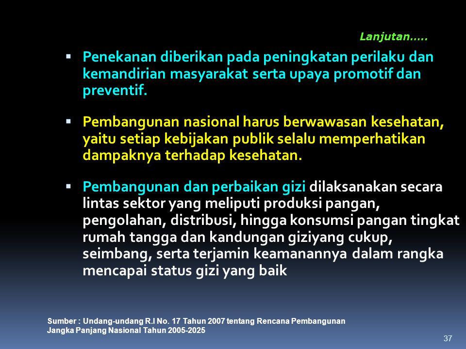 Lanjutan….. Penekanan diberikan pada peningkatan perilaku dan kemandirian masyarakat serta upaya promotif dan preventif.
