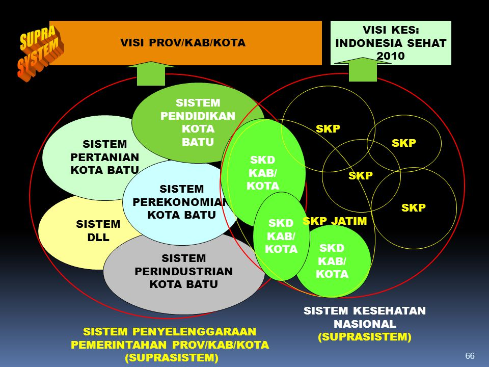 SUPRA SYSTEM VISI PROV/KAB/KOTA VISI KES: INDONESIA SEHAT 2010 SISTEM