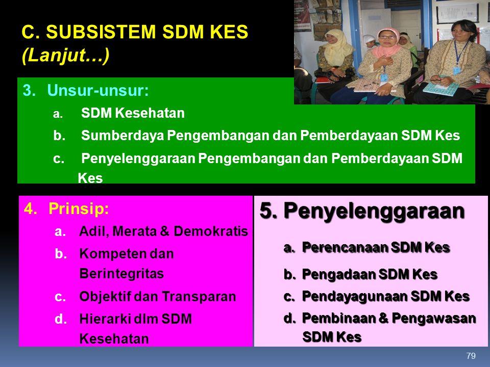 a. Perencanaan SDM Kes 5. Penyelenggaraan