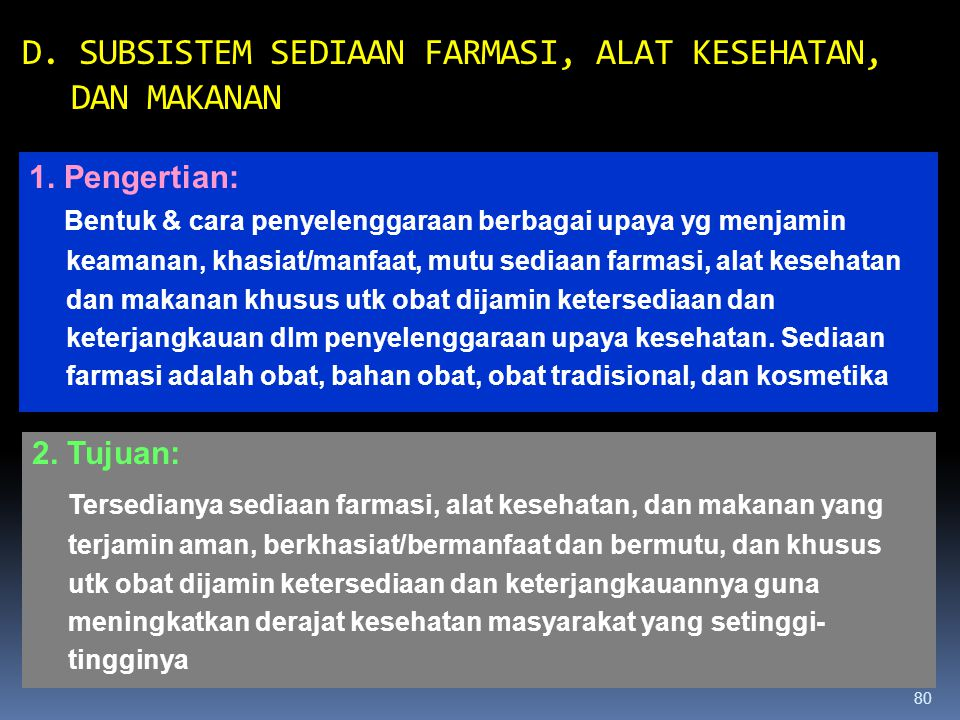 D. SUBSISTEM SEDIAAN FARMASI, ALAT KESEHATAN, DAN MAKANAN