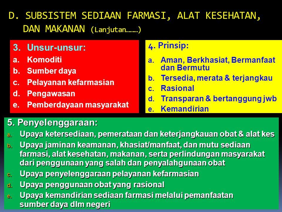 D. SUBSISTEM SEDIAAN FARMASI, ALAT KESEHATAN, DAN MAKANAN (Lanjutan………)