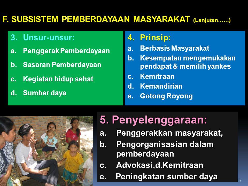 5. Penyelenggaraan: F. SUBSISTEM PEMBERDAYAAN MASYARAKAT (Lanjutan……)