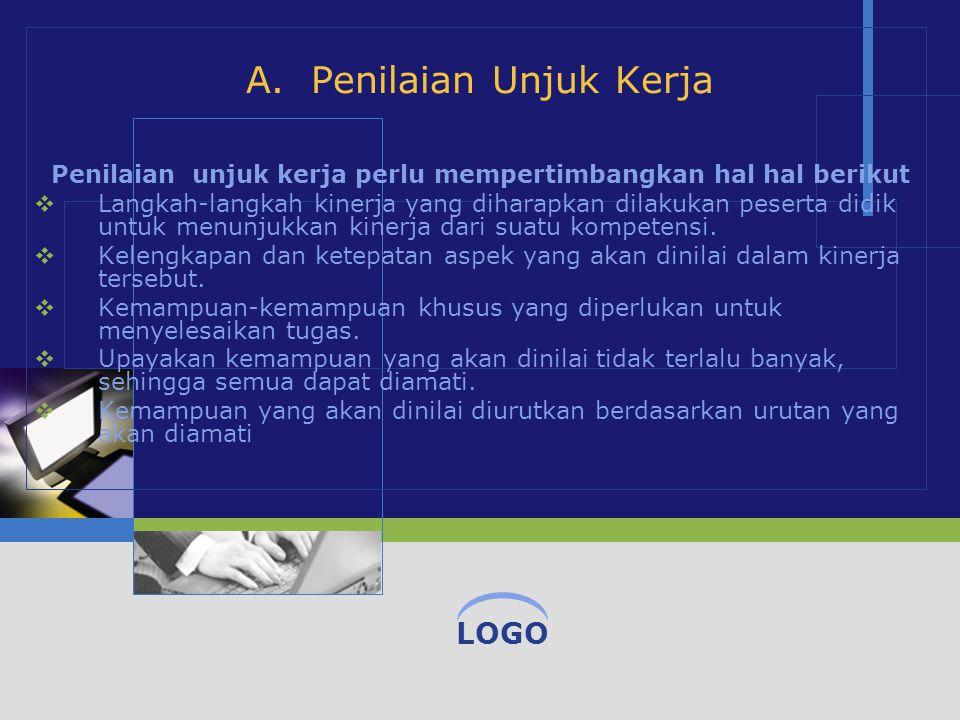 A. Penilaian Unjuk Kerja