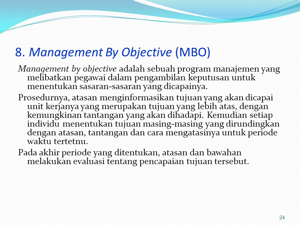 8. Management By Objective (MBO)