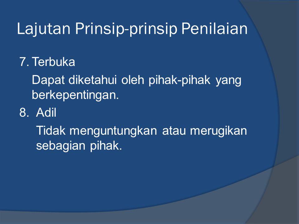 Lajutan Prinsip-prinsip Penilaian