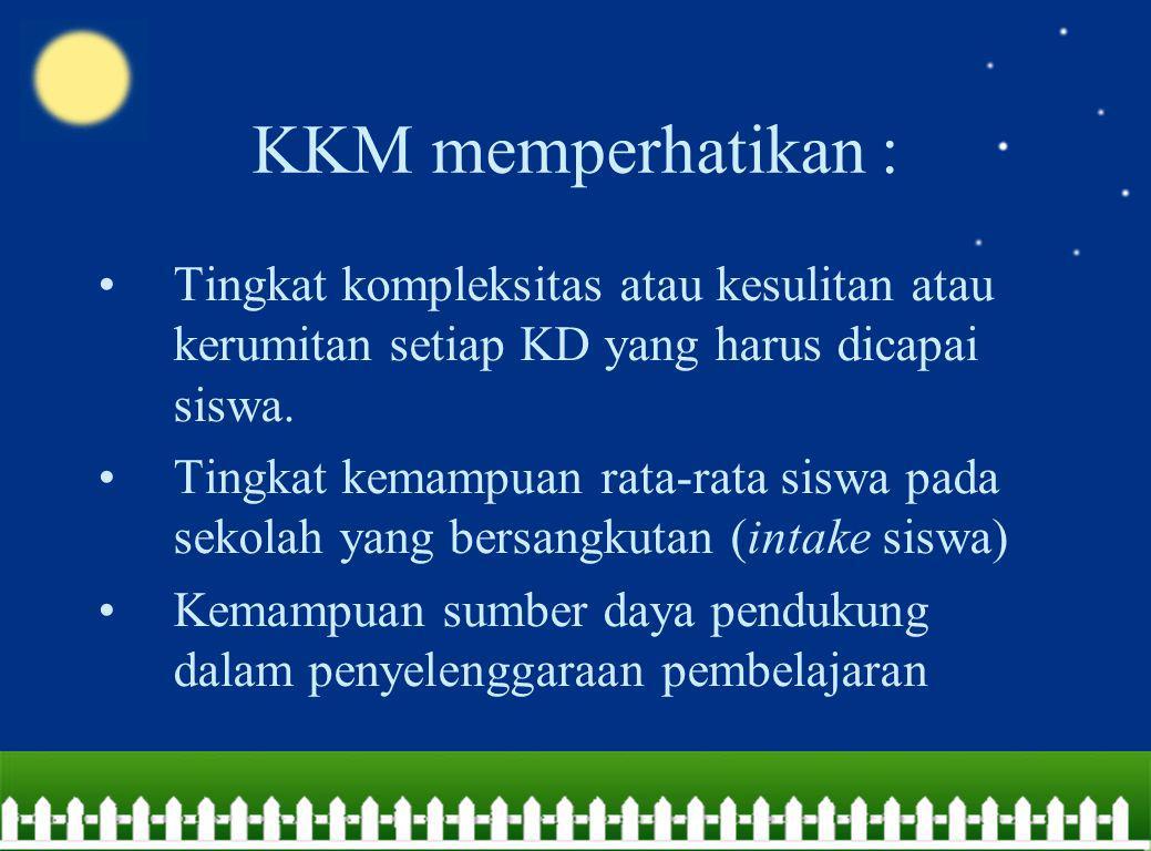 KKM memperhatikan : Tingkat kompleksitas atau kesulitan atau kerumitan setiap KD yang harus dicapai siswa.