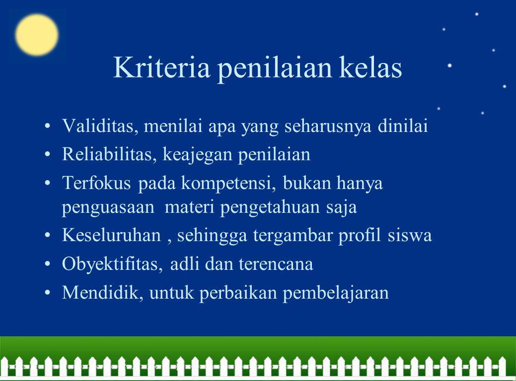 Kriteria penilaian kelas