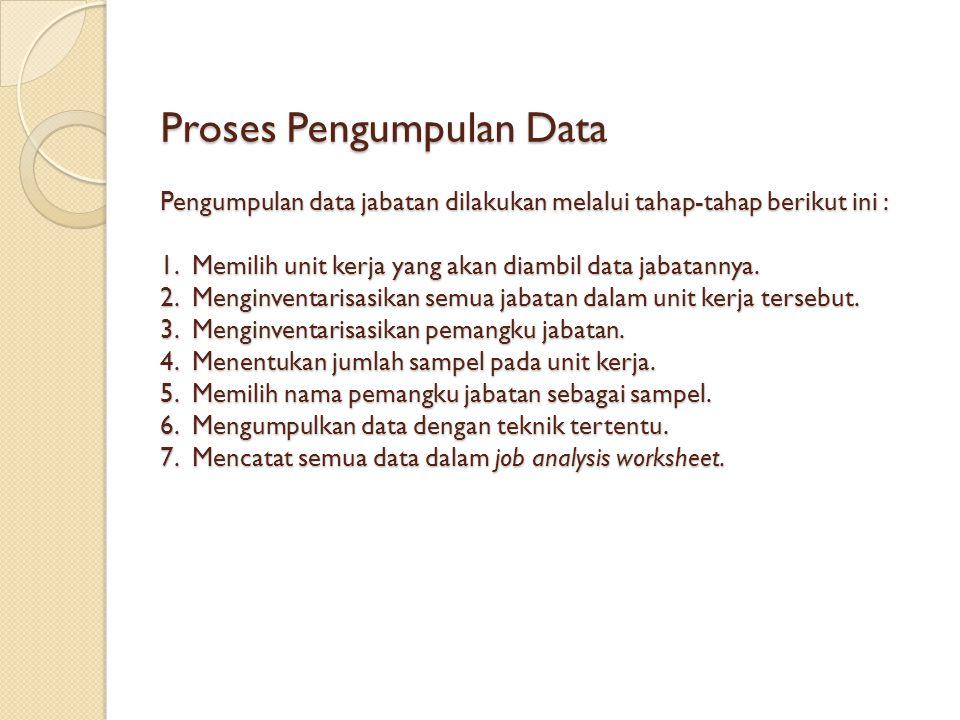 Proses Pengumpulan Data Pengumpulan data jabatan dilakukan melalui tahap-tahap berikut ini : 1.