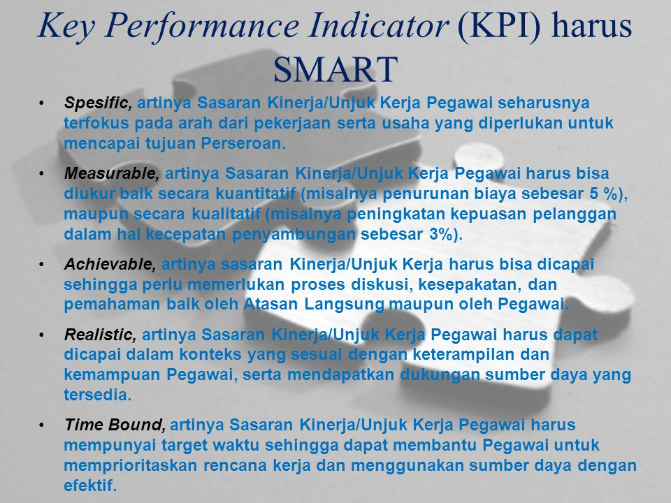 Key Performance Indicator (KPI) harus SMART