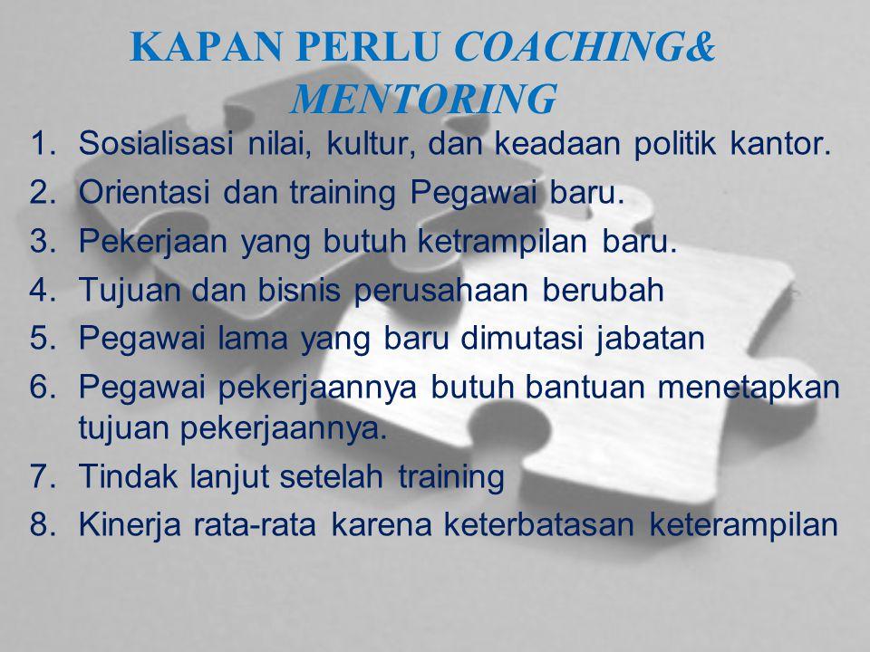 KAPAN PERLU COACHING& MENTORING