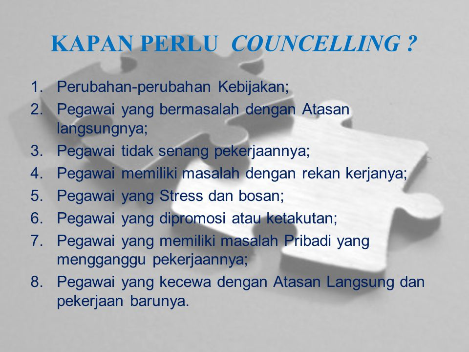 KAPAN PERLU COUNCELLING