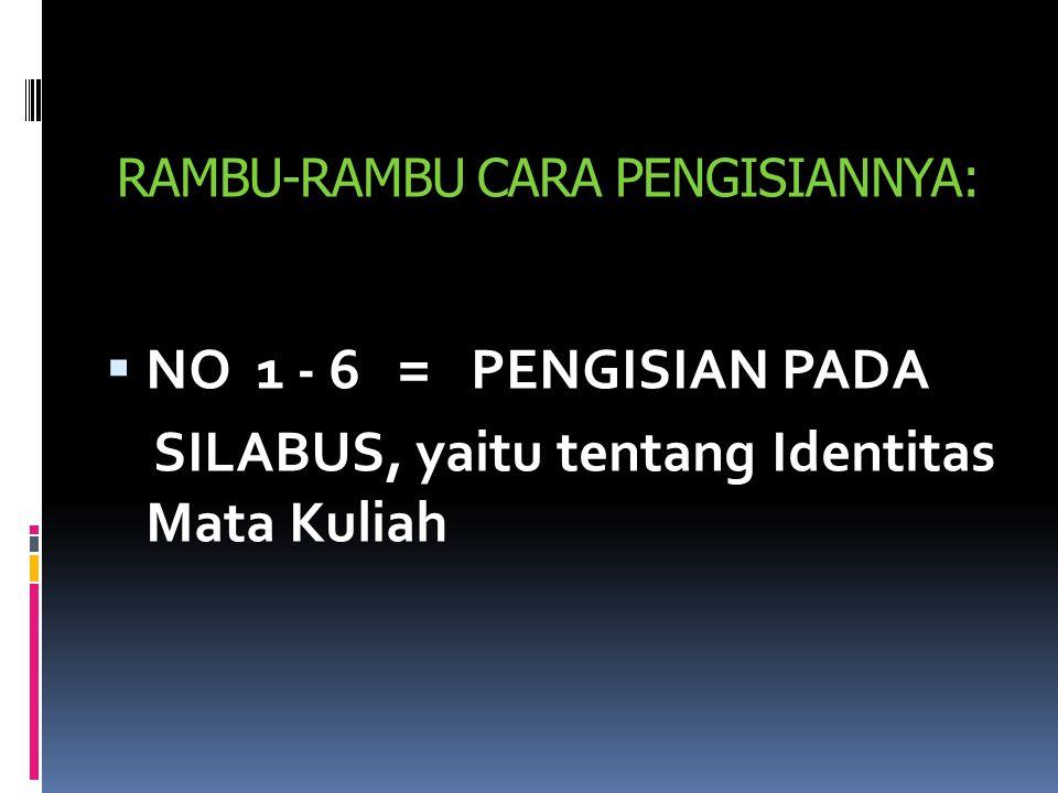 RAMBU-RAMBU CARA PENGISIANNYA: