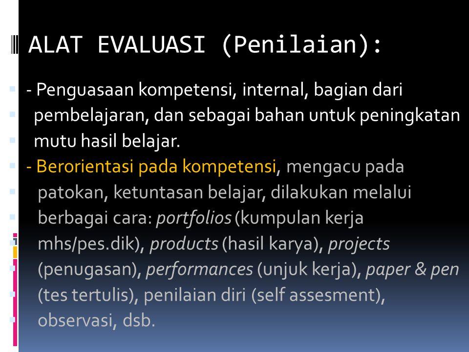 ALAT EVALUASI (Penilaian):