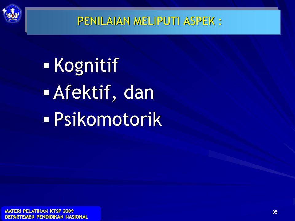 PENILAIAN MELIPUTI ASPEK :
