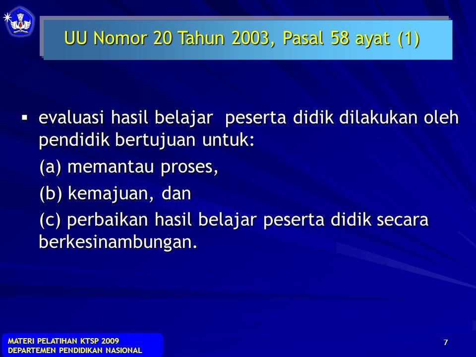 UU Nomor 20 Tahun 2003, Pasal 58 ayat (1)