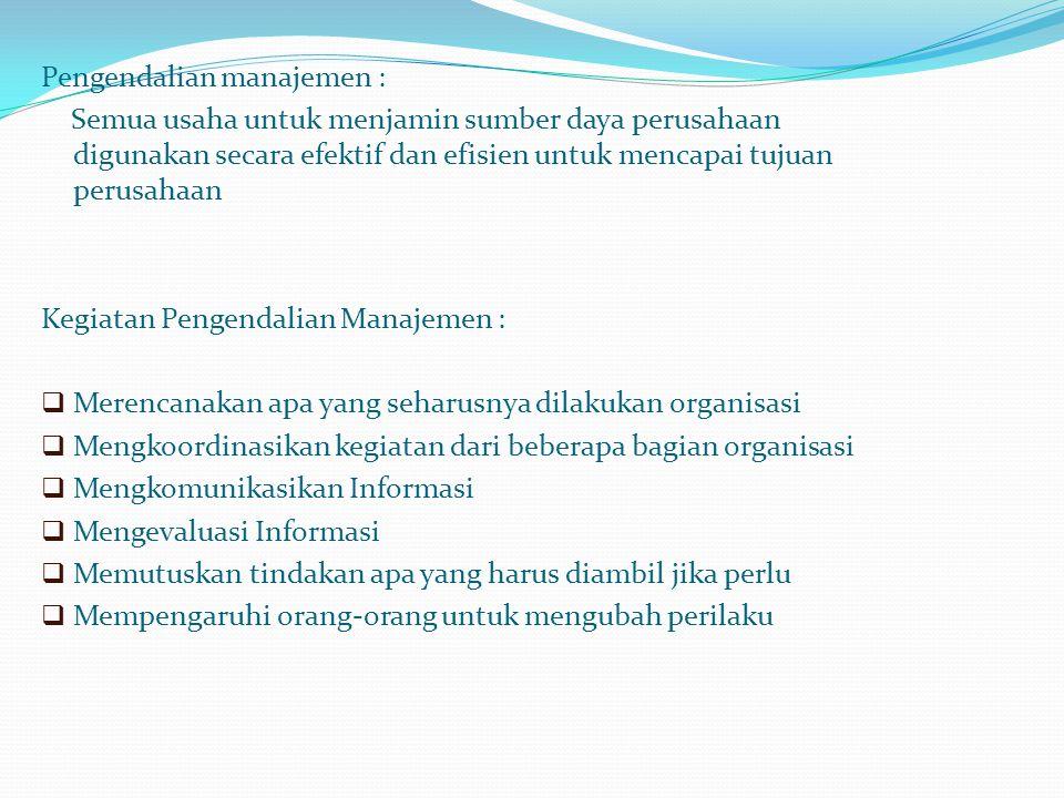 Pengendalian manajemen :