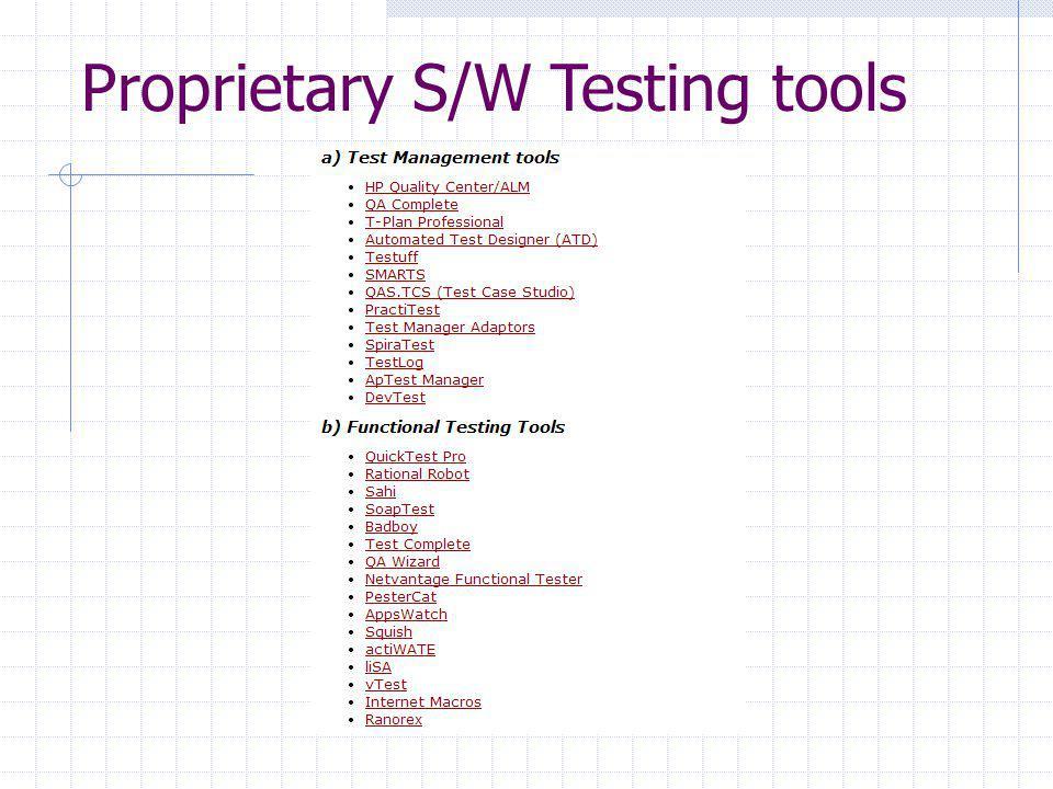 Proprietary S/W Testing tools