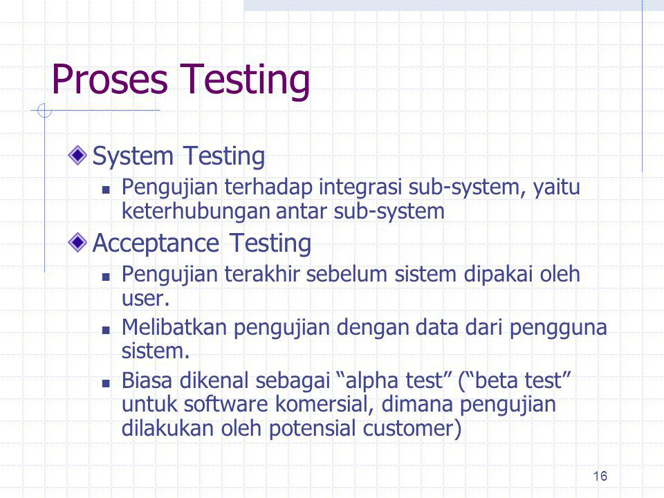 Proses Testing System Testing Acceptance Testing