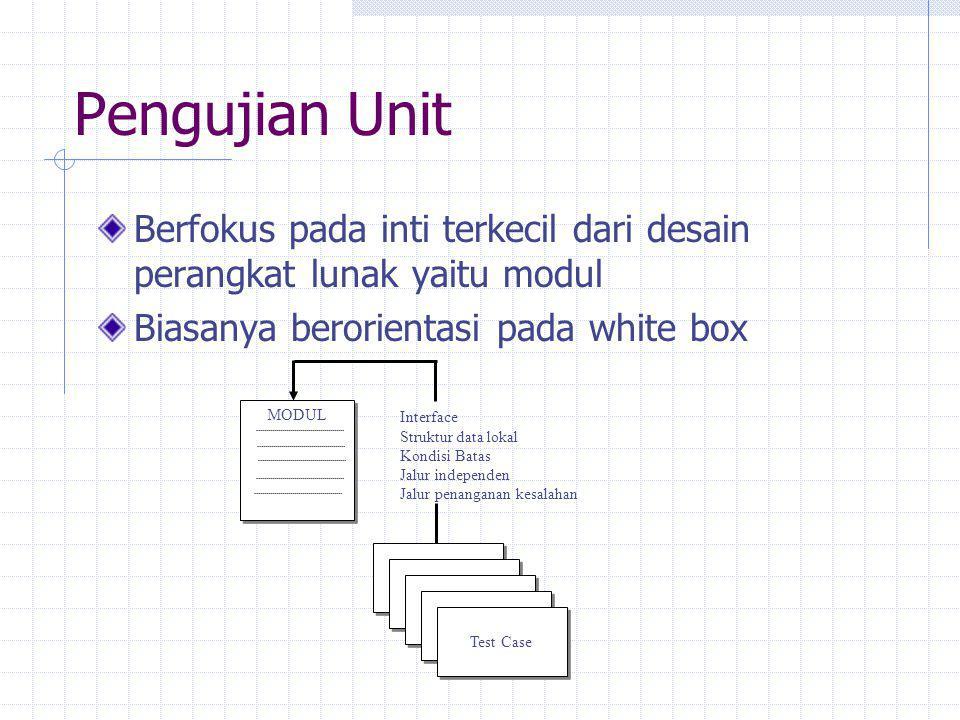 Pengujian Unit Berfokus pada inti terkecil dari desain perangkat lunak yaitu modul. Biasanya berorientasi pada white box.
