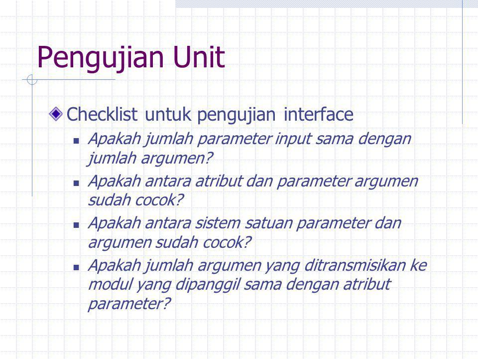 Pengujian Unit Checklist untuk pengujian interface